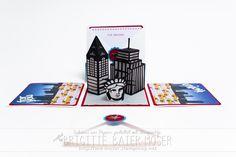 Handgemachte Explosionsbox als Geschenkgutschein für eine New-York-Reise. Brigitte Baier-Moser - http://mediendesign-moser.at