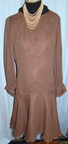 1960s 20 style drop waist dresstaupe/ brown by deesvintageclothing, $22.00