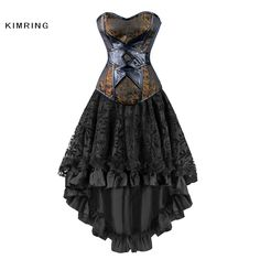 Kimring Vintage Steampunk Corsets Robe Gothique Overbust Corset Robe Femmes Taille Haute Jupes Sexy Dentelle Bustier Corselet