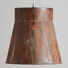 One of my favorite discoveries at WorldMarket.com: Distressed Metal Bucket Pendant.  2 over the narrow farmhouse table.