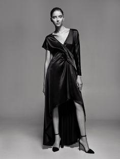 beautiful silk dress SS15 PODOLYAN BLACK by PODOLYAN