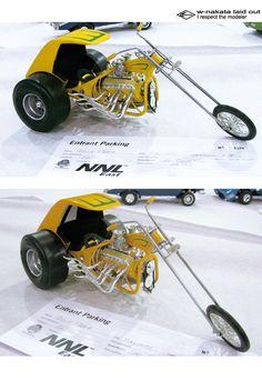 Trike Motorcycle, Moto Bike, Motorcycle Design, Model Building Kits, Model Cars Kits, Plastic Model Kits, Plastic Models, Monogram Models, Futuristic Motorcycle