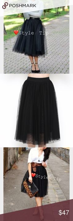 💐Black Tulle Skirt! 💐 The perfect piece for making fashionable new memories. Tulle skirts are back! Pair this black mesh tulle skirt with full overlay and stretch waistband with your favorite shoes, top, even jacket on cool days. Use my style tips to create the look you'll want to add to your wardrobe!                                  MEASUREMENTS:                                          Small (Fits 2 -4), Medium (Fits 6 - 8), Large (Fits 10 - 12) Skirts Midi