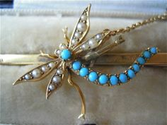 From Cherub Antiques.co.uk - Brooches - Edwardian 15ct gold dragonfly bar brooch with turquoise & seed pearls