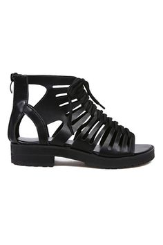 Gypsy Travel Pack Your Bags| Shop ROMWE | Hollow-out Shoe Lace Black Sandals, The Latest Street Fashion