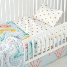$129 quilt, $49 sheet set, $14 toddler pillow insert...Marine Queen Toddler Sheet Set  | The Land of Nod