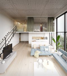 Describe this home in ONE word! This apartment concept displays a loft style approach where the chosen materials have a contrasting finish between pure and raw. Loft House Design, Loft Interior Design, Home Room Design, Small House Design, Dream Home Design, Modern House Design, Interior Decorating, 3d Home Design, Minimalist House Design