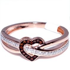 Midwest Jewellery Heart Ring Rose Gold Cognac and White Diamonds Diamonds Fashion Promise I/j) on - Diamond Wedding Rings Store Diamond Wedding Rings, Diamond Rings, Gold Rings, Gemstone Rings, Rose Gold Heart Ring, Rings Pandora, Best Friend Rings, Ring Rosegold, Black Gold Jewelry