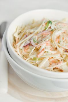 Coleslaw...this sounds so much like the dressing my mother made. The slaw was crunchy and paired well with everything  from seafood to pork! Will give this a try this week!