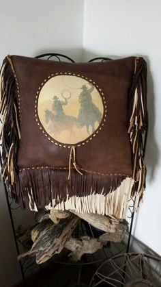Leather Deer Hide Pillow by Marsha Tate-Donnell