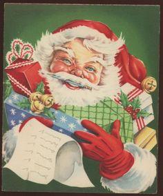 Santa Presents List  Embossed 1950's Vintage used Christmas Greeting Card