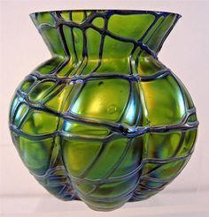 "Beautiful Loetz Art Glass Threaded Iridescent Vase - 3 1/2"" Tall 140S"