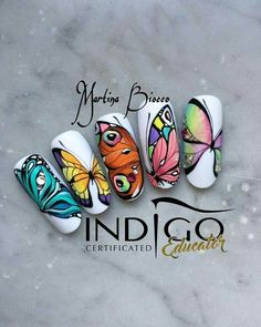 Photo shared by 🦄💗Marty Nails Roma 💅🏼🦄 on May 2017 tagging and Butterfly Nail Designs, Butterfly Nail Art, Minimalist Nails, Nail Swag, Sculpted Gel Nails, Kiss Nails, Indigo Nails, Cool Nail Designs, Nail Tutorials