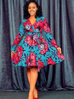 African Print Wrap Dress- Flare Dress - Ankara -Ankara Print -African Dress -Handmade - Africa Clothing - African Fashion - Midi Dress - Source by - Latest African Fashion Dresses, African Dresses For Women, African Print Fashion, African Outfits, Ankara Fashion, Fashion Skirts, Africa Fashion, African Prints, Ethnic Fashion