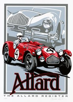 Allard racing poster vintage J3 by © Dennis Simon. This poster is available at centuryofspeed.com