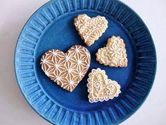 アイシングクッキー 和柄 麻の葉 バレンタイン icing cookies heart Japanese pattern