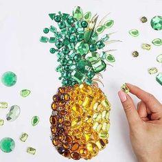 Beautiful pineapple made from gemstones