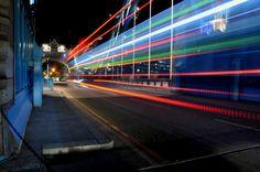 Bus light trails on Tower Bridge, London