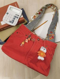 Make a bag from jeans - this is much cuter than most jean bags