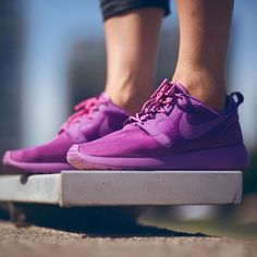 Purple Nike Roshe Run {size 7} Size 7 Nike Roshe Run. These are an amazing color that not everybody has! Super comfortable, great for everyday wear! They are in good used condition, no major signs of wear, and have only been worn about 3 times briefly! Feel free to make a fair offer! Nike Shoes Sneakers