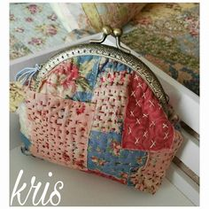 patchwork case for key Sashiko Embroidery, Japanese Embroidery, Boro Stitching, Frame Purse, Patchwork Bags, Fabric Bags, Hand Quilting, Handmade Bags, Bag Making