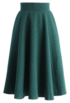 Embossed Gingham A-line Skirt in Green - New Arrivals - Retro, Indie and Unique Fashion