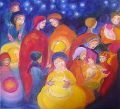 Waldorf Lantern Walk by Yasmeen Amina Olya.    this reminds me of my 'spirit people' painting I did a long time ago.