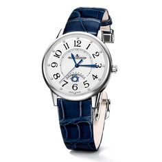 This Jaeger Le Coultre Rendez-Vous Night & Day steel watch has a silver guilloché dial with arabic numerals, blue steel hands and diamond hour markers. The strap is interchangeable. Discover the watches for women that are as romantic as they are fashionable: http://www.thejewelleryeditor.com/watches/article/gift-ideas-watches-valentines-day/ #luxury