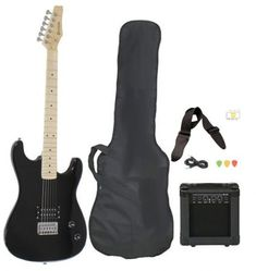 Full Size Black Electric Guitar with Amp, Case and Accessories Pack Beginner Starter Package - Guitar guitar guitar guitar lessons for kids guitar for beginners Beginner Electric Guitar, Electric Guitar And Amp, Best Electric Scooter, Cool Electric Guitars, Guitar Kits, Guitar Amp, Cool Guitar, Cheap Guitars, Guitars For Sale