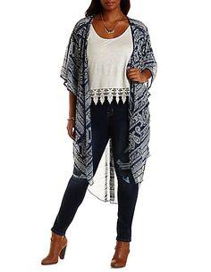 9b37853bfc5 Plus Size Crochet-Trim Paisley Duster Kimono  Charlotte Russe   CharlotteRussePlus  Charlotte0to24
