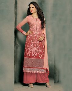 $50.03 Pink Georgette Palazzo Style Suit 57046