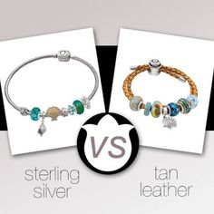 Sterling silver VS tan leather Persona bracelet cords and beads