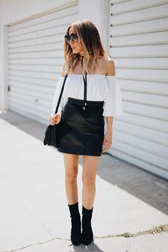The Knot Effect - Maria De La Cruz - Haute Instinct Blog, Personal style, blogger style, street style, 2016 fashion, off shoulder, leather skirt, Celine, chokers.