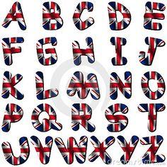 Fuente británica. Letras del alfabeto con los colores de la bandera.