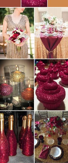 burgundy wedding ideas with glitters and sequins