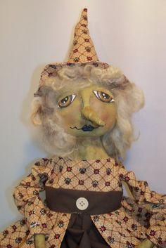 Primitive witch doll Hazel OOAK/ by xochibearsprimitives on Etsy, $98.00
