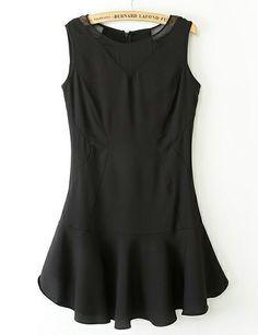 Black Sleeveless Contrast Pleated Hem Mini Dress - Sheinside.com
