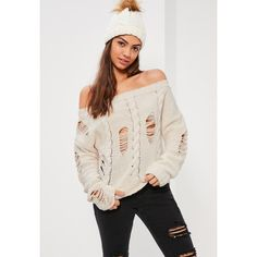Missguided Cream Distressed Cable Off Shoulder Jumper ($45) ❤ liked on Polyvore featuring tops, sweaters, ivory, distressed sweater, cream cable knit sweater, cable knit sweater, pink sweater and oversized off shoulder sweater
