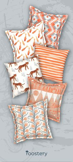 """Customize your space with a unique variety of orange throw pillows. Or, choose from over 350,000 indie designed pillows in our marketplace. All pillows can be made with linen-cotton, eco canvas, organic sateen or silky faille. Catalan throw pillows pictured above measure 18"""" x 18"""" and start at $43 Serama flanged throw pillows measure 19"""" x 19"""" and start at $46."""