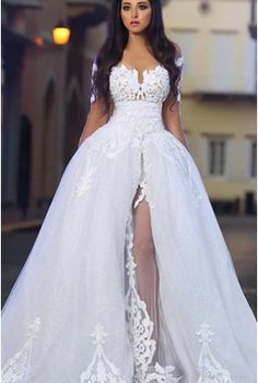 c2e9a8f18b4 Empire Waist Off-The-Shoulder Split Floor-Length Tulle Weeding Dress With  Lace