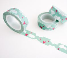 Single roll of washi masking tape with clouds and hearts in the sky pattern. Great for travel journals, scrapbooking, gift wrapping, decorating cards and envelopes and more! Add a little dash of cuten