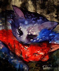CAT-LOVE-Raphael-VAVASSEUR-Peinture-Originale-Original-Painting