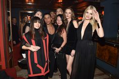 (L-R) Miroslava Duma, Ming Xi, Olivier Rousteing, Tina Leung, Daria Strokous and Karlie Kloss attend the Balmain Aftershow Dinner as part of the Paris Fashion Week Womenswear Fall/Winter 2015/2016  on March 5, 2015 in Paris, France.