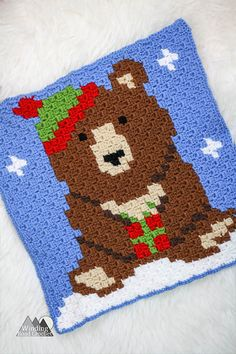 The Big Brown Bear Square Graph is the first square in my Woodland Winter Wonderland Blanket I will be sharing all fall and winter this year. I will be releasing a new graph every week and revealing the next week's graph. Next week's graph … C2c Crochet Blanket, Crochet Afgans, Crochet Quilt, Crochet Blocks, Crochet Mandala, Crochet Bear, Crochet Blanket Patterns, Cute Crochet, Crochet Motif