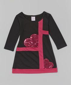 Look what I found on #zulily! Black & Pink Sequin Heart Dress - Toddler & Girls by S.W.A.K. #zulilyfinds