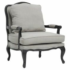"A perfect addition to your living room or den, this French Regency-style arm chair showcases a wood frame and gray linen-upholstered cushions.  Product: ChairConstruction Material: Wood and linenColor: Gray and blackDimensions: 39.75"" H x 33.75"" W x 31"" DCleaning and Care: Spot clean only"
