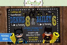Batman and Batgirl Birthday Invitation BG01