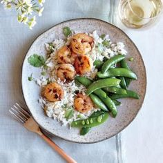 Chili-Garlic Shrimp with Coconut Rice and Snap Peas | MyRecipes.com #myplate #protein #veggies #wholegrain