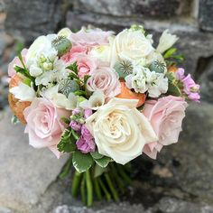A sweet pink and white summer bridal bouquet for a wedding in Stowe, VT. Including roses, stock, poppy pods, ranunculus, freesia and touches of greenery. #vermontweddingflowers #floralpreneur #roses #bridalbouquet Wedding Bouquets, Wedding Flowers, Ranunculus, Fresh Flowers, Vermont, Flower Designs, Greenery, Poppies, Bridal