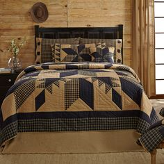 Navy Star Quilt Sets Hand Quilted All Cotton Stars Quilts Plaids Khaki Patchwork